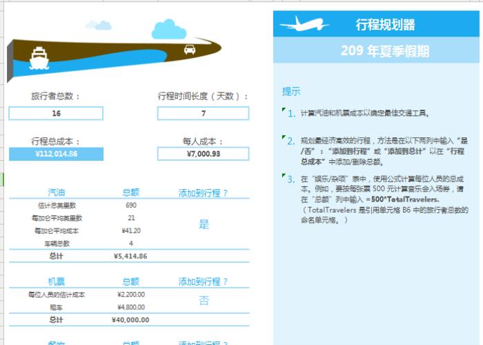 夏季假期企业高管旅游行程规划表