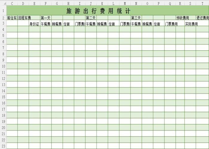 旅游出行费用统计表格模板