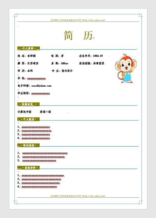 吉祥猴网实习生简历