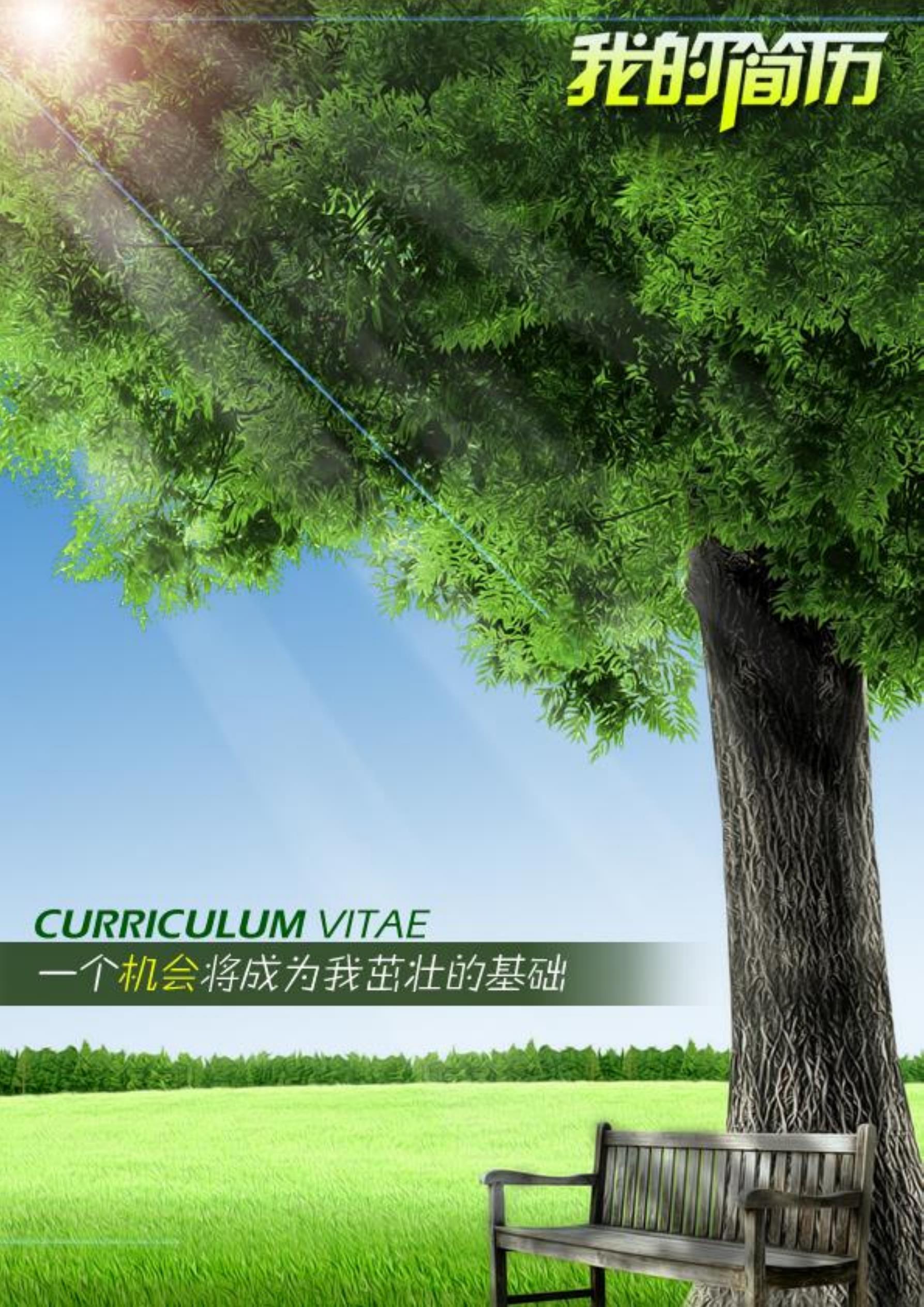 绿色大树封面简历模板