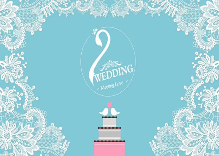 清新花边背景的婚礼相册PPT模板